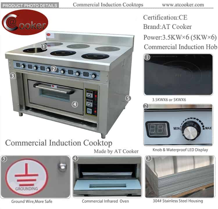 commercial induction range cooker