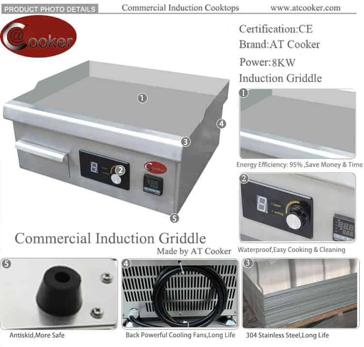 commercial flat top stainless steel induction griddle
