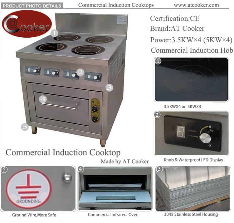 commercial induction cooktop 4 burner with convection oven