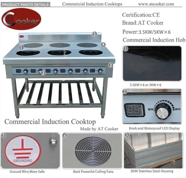 hotels use waterproof surface commercial induction cooktop 6 burner