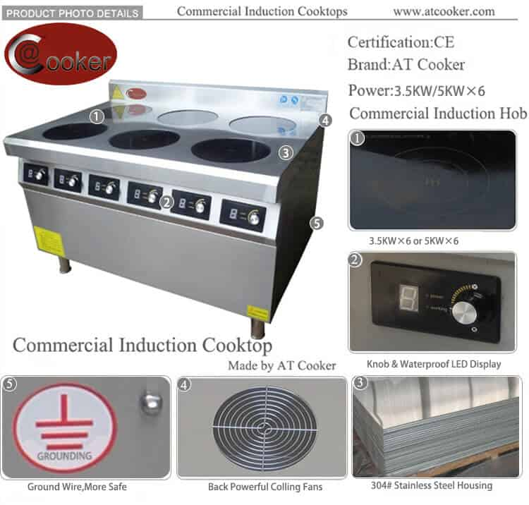 380V waterproof commercial induction range 6 burner