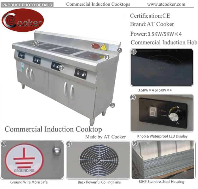 4 burner freestanding commercial induction cooktop for restaurant kitchen