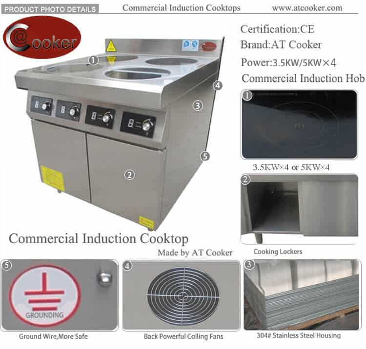 certification ce 4 burner commercial induction cooktop