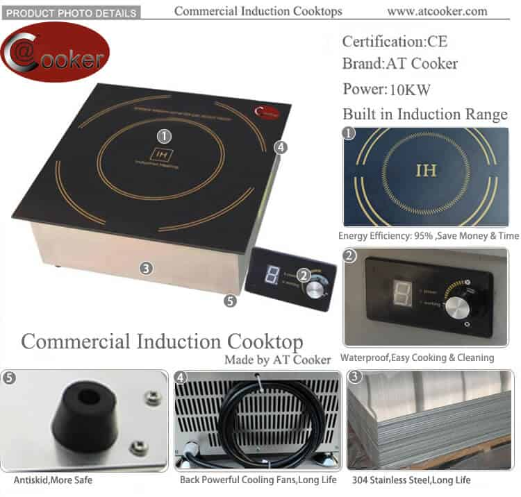 heavy duty 10 KW induction cooktop for commercial use
