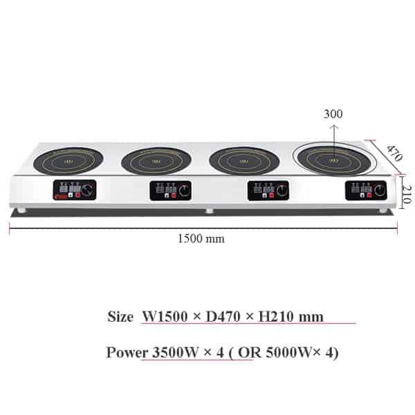 4 commercial induction cooktop BZTA6C4 size 1