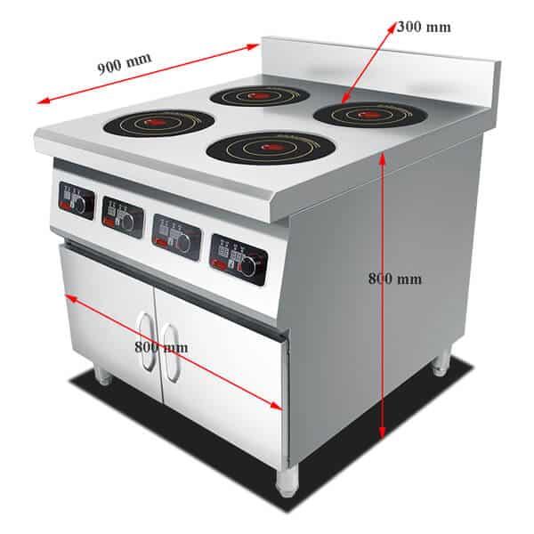 4 commercial induction range BZTAZH4F SIZE