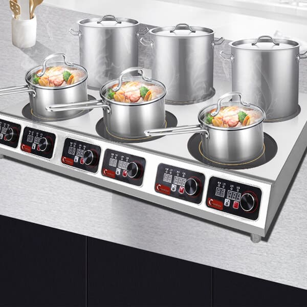 restaurant kitchen use 5KW commercial induction cooktop 6 burner
