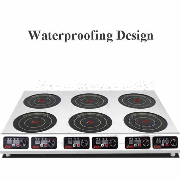 6 hobs commercial induction cooktop BZTA6C6 WATERPROOFING DESIGN
