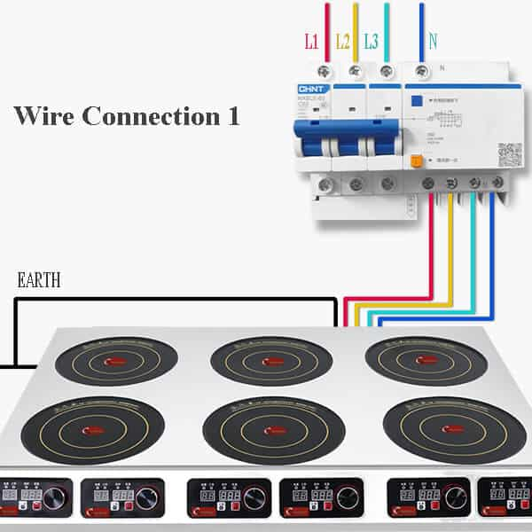 6 hobs commercial induction cooktop BZTA6C6 WIRE CONNERCTION