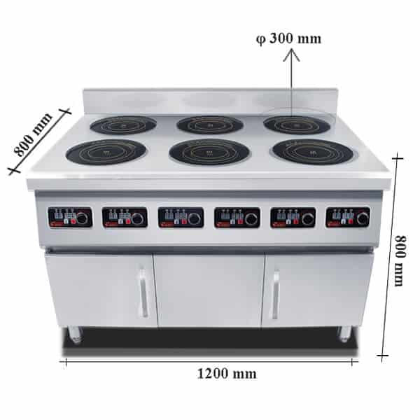 freestanding commercial induction range 6 hobs ATTABZ6A size