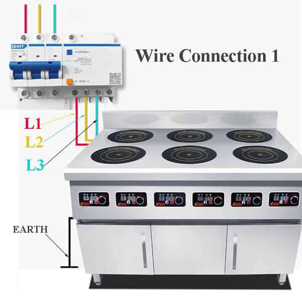 freestanding commercial induction range 6 hobs ATTABZ6A wire connection