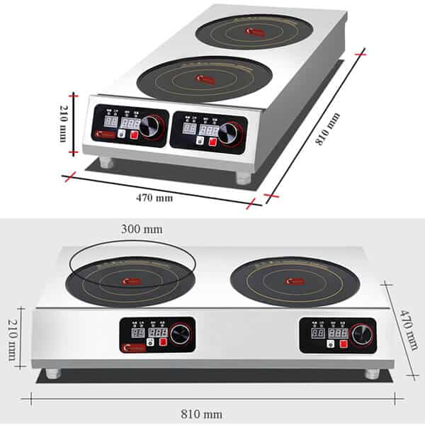 induction cooktop commercial 2 hobs SHPTA 2C size
